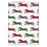 Festive Plaid Horse Pattern Christmas Greeting Cards