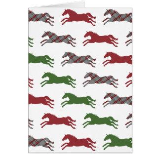 Festive Plaid Horse Pattern Christmas Greeting Card