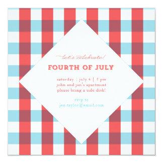 Festive Plaid July Fourth Square Invitation