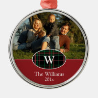 Festive Plaid Personalized Photo Ornament