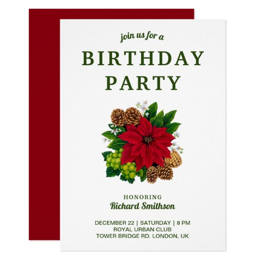 Christmas Birthday Party Invitations.Festive Poinsettia Christmas Birthday Party Invitation