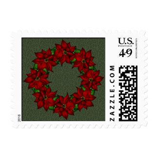 Festive Poinsettia Design Postage Stamps