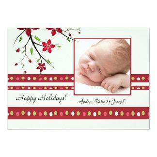 Festive Poinsettia Photo Card Custom Invitation