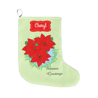 Festive Poinsettia Red Christmas Flowers Large Christmas Stocking