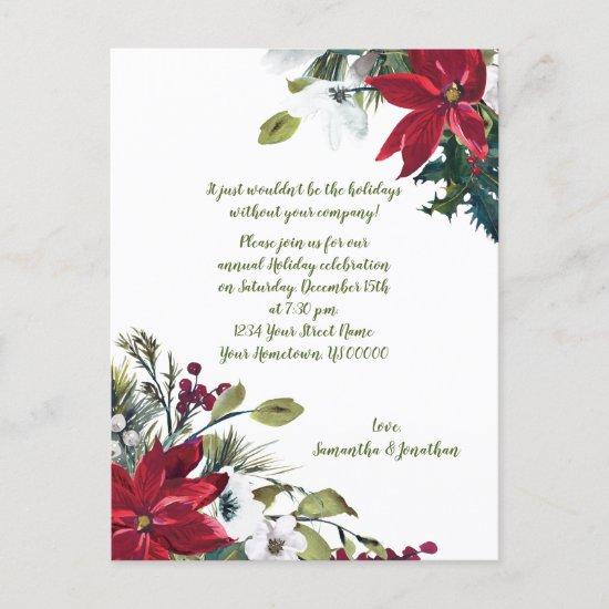 Festive Poinsettias Holly Berries Christmas Party Invitation Postcard