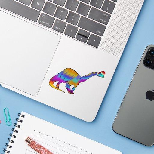 Festive Psychedelic Rainbow Brontosaurus Dinosaur  Sticker