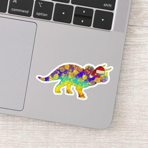 Festive Psychedelic Triceratops Xmas Elf Dinosaur Sticker
