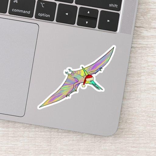 Festive Pterodactyl colorful Christmas Dinosaur Sticker
