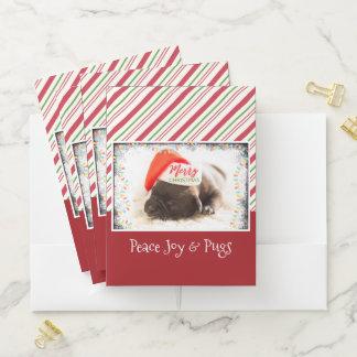 Festive Pug in Red Santa Hat with Christmas Lights Pocket Folder