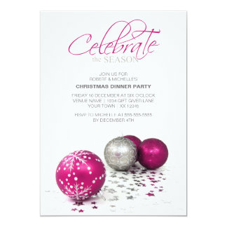 Festive Purple Baubles Celebrate the Season Custom Invites