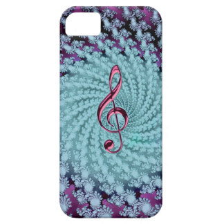 Festive Purple Blue Swirl Fractal with Music Clef iPhone SE/5/5s Case
