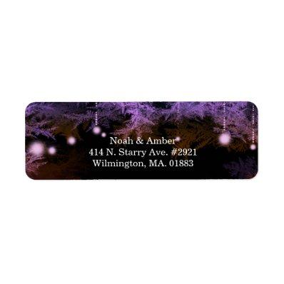 Festive Purple Forest Lights Wedding Address Label