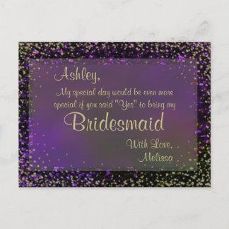 Festive Purple Glow - Will You Be My Bridesmaid? Invitation Postcard