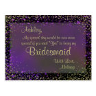 Festive Purple Glow - Will You Be My Bridesmaid? Postcard