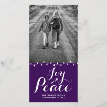 Festive Purple Joy   Peace | Christmas Photo Cards