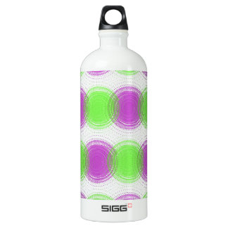 Festive Purple & Lime Green Pattern Aluminum Water Bottle