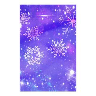 Festive Purple Snowflake Stars Christmas Party Stationery
