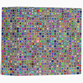 Festive Rainbow Textured Mosaic Tiles Pattern 3 Ring Binder