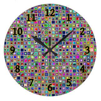 Festive Rainbow Textured Mosaic Tiles Pattern Wallclocks