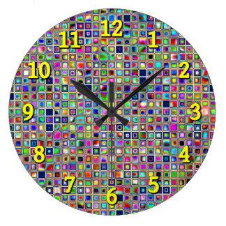 Festive Rainbow Textured Mosaic Tiles Pattern Clocks