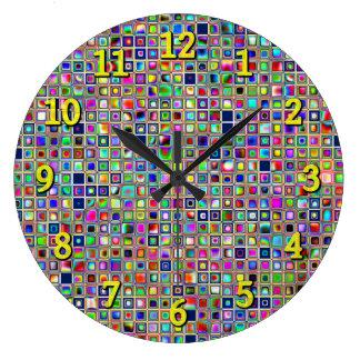 Festive Rainbow Textured Mosaic Tiles Pattern Wallclock