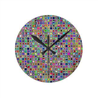 Festive Rainbow Textured Mosaic Tiles Pattern Wall Clocks