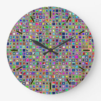 Festive Rainbow Textured Mosaic Tiles Pattern Clock