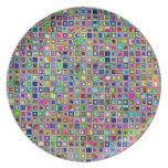 Festive Rainbow Textured Mosaic Tiles Pattern Dinner Plates