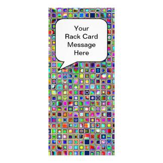 Festive Rainbow Textured Mosaic Tiles Pattern Rack Card