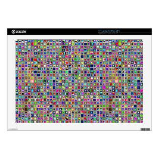 """Festive Rainbow Textured Mosaic Tiles Pattern 17"""" Laptop Skin"""