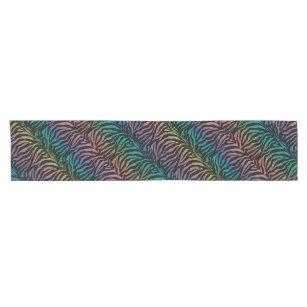 Festive Rainbow Zebra Animal Print Table Runner