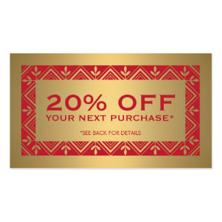 Festive Red and Faux Gold Discount Coupon Card Business Card Template