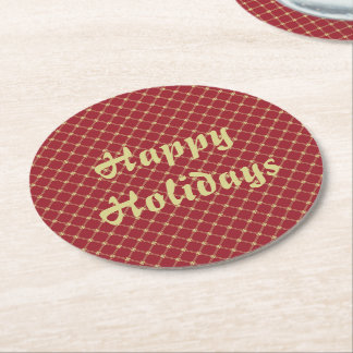 Festive Red and Gold Christmas Round Paper Coaster