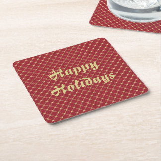 Festive Red and Gold Christmas Square Paper Coaster