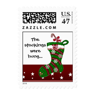 Festive Red and Green Christmas Stocking Postage