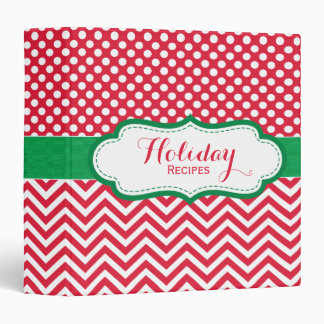 Festive Red and Green Holiday Recipe Binder