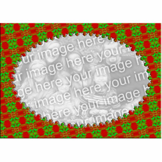 Festive Red and Green Photo Frame Statuette