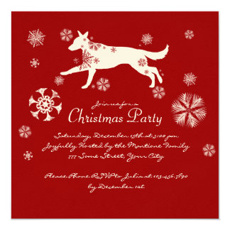 Festive Red and White Dog Christmas Party Card