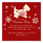 Festive Red and White Dog Christmas Party Personalized Announcement