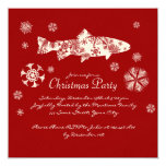Festive Red and White Fish Christmas Party Custom Announcement