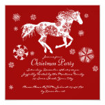 Festive Red and White Horse Christmas Party 5.25x5.25 Square Paper Invitation Card
