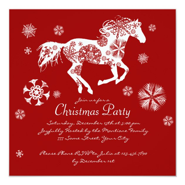 Festive Red And White Horse Christmas Party Invitation Zazzle Com