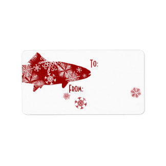 Festive Red and White Snow Trout Personalized Address Labels