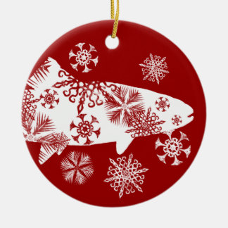 Festive Red and White Snow Trout Christmas Tree Ornaments