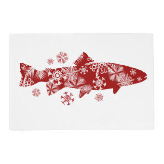Festive Red and White Snow Trout Placemat