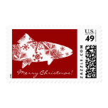 Festive Red and White Snow Trout Postage Stamps