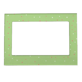 Festive Red and White Stars on Green Magnetic Frame