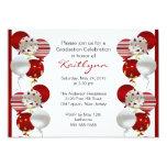 Festive Red Balloon Graduation Invitation