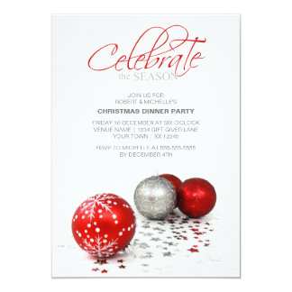 Festive Red Baubles Celebrate the Season Personalized Invitations