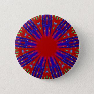 Festive Red Blue Radiating Circular Pattern Pinback Button